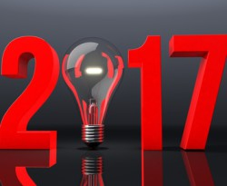 New Year 2017 with Light Bulb